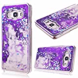Galaxy Sky Case, J3/J3 V Case,Galaxy Sol Case,DAMONDY Cute 3D Moving Stars Bling Liquid Glitter Floating Flowing Ultra Clear TPU Hard Cover Case for Galaxy J3/Express Prime/Amp Prime -purple