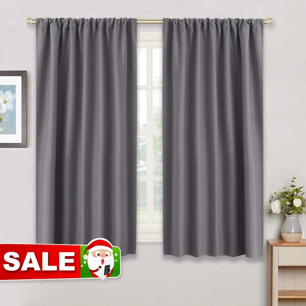 RYB HOME Bedroom Blackout Curtains - Thermal Insulated Noise Reducing Rod  Pocket Small Draperies Kitchen Window Treatments Decor, 42 inches Wide x ...