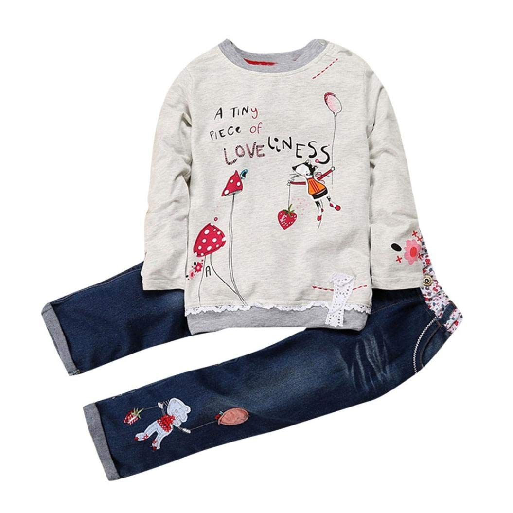 Toddler Baby Girls Kids Clothes Outfit Set Fall Winter New Long Sleeve Cartoon Print Tops Denim Jeans Pants 1-5T (3-4 Years Old, Gray)