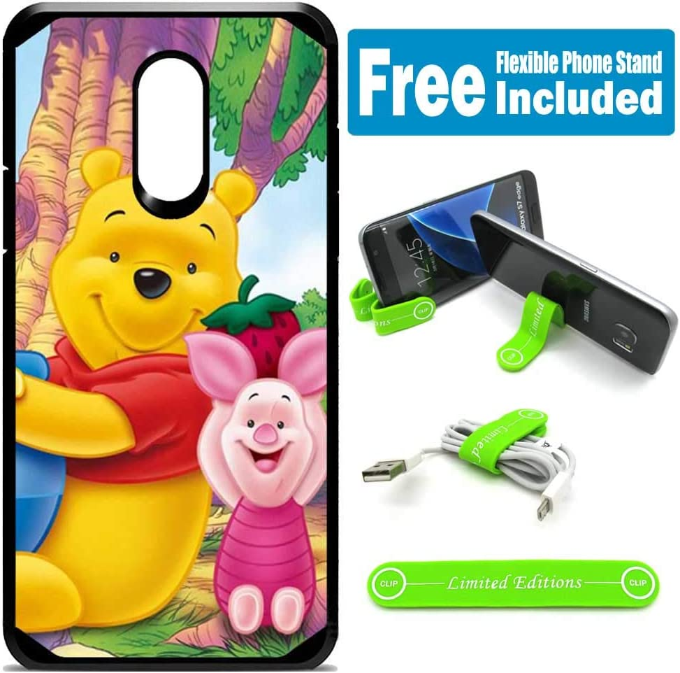 for LG [Stylo 3] [Stylo 3 Plus] [LS777] Defender Rugged Hard Cover Case - Winnie The Pooh Piglet Strawberry