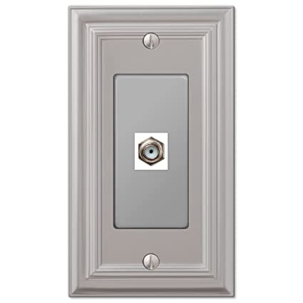 Amerelle 94CXN Continental Satin Nickel Cast 1 Coaxial Wallplate