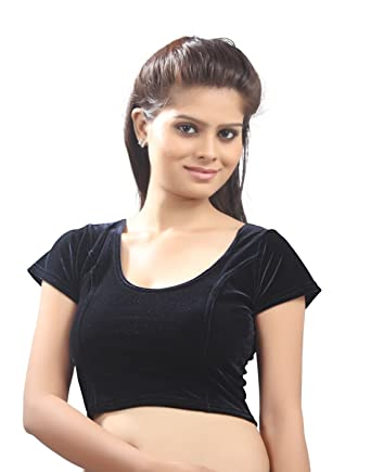 e3400dceb6987a Amazon.com: Black Velvet Chic Ready-made Saree Blouse Sari Choli - A-9:  Clothing