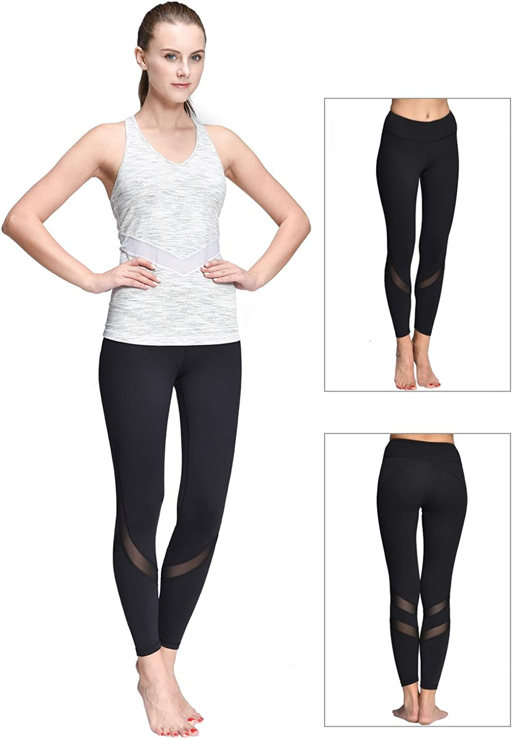 ONGASOFT Womens Yoga Pants Mesh Workout Leggings with Inner Pocket Yoga Tights