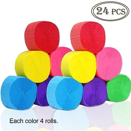 Outuxed 24 Unidades Papel crepé crepé Bandas 6 Colores para ...