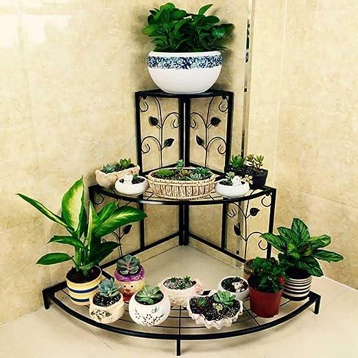 LFY Escalera de Esquina Macetero Estante Estante de Flores de Hierro Multicapa Negro Europeo: Amazon.es: Hogar