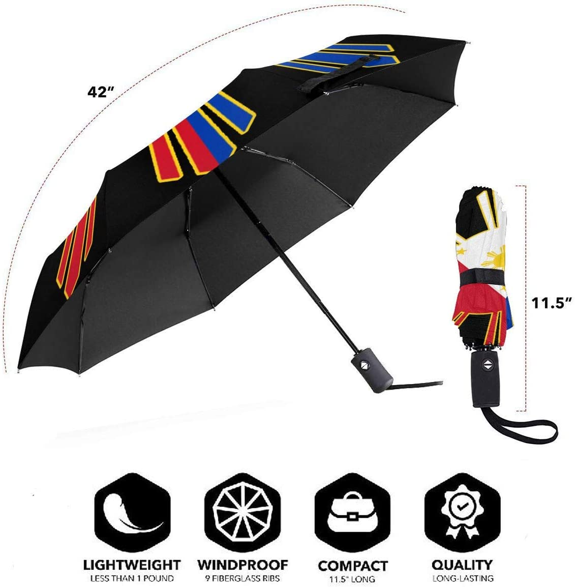 Filipino Flag Automatic Tri-Fold Umbrella Parasol Sun Umbrella Sunshade
