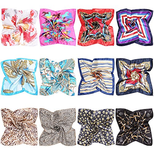 (BMC 12pc Women's Silky Scarf Square Mixed Pattern & Colors Fashion Accessory Set -A Little Bit of Everything Pack)