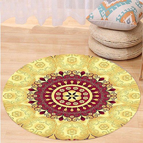 Niasjnfu Chen Custom carpetPurple Mandala Indian Pattern with Baroque Victorian Featured Old Fashion Effects Artwork for Bedroom Living Room Dorm Maroon (Indian Pattern Hemp)
