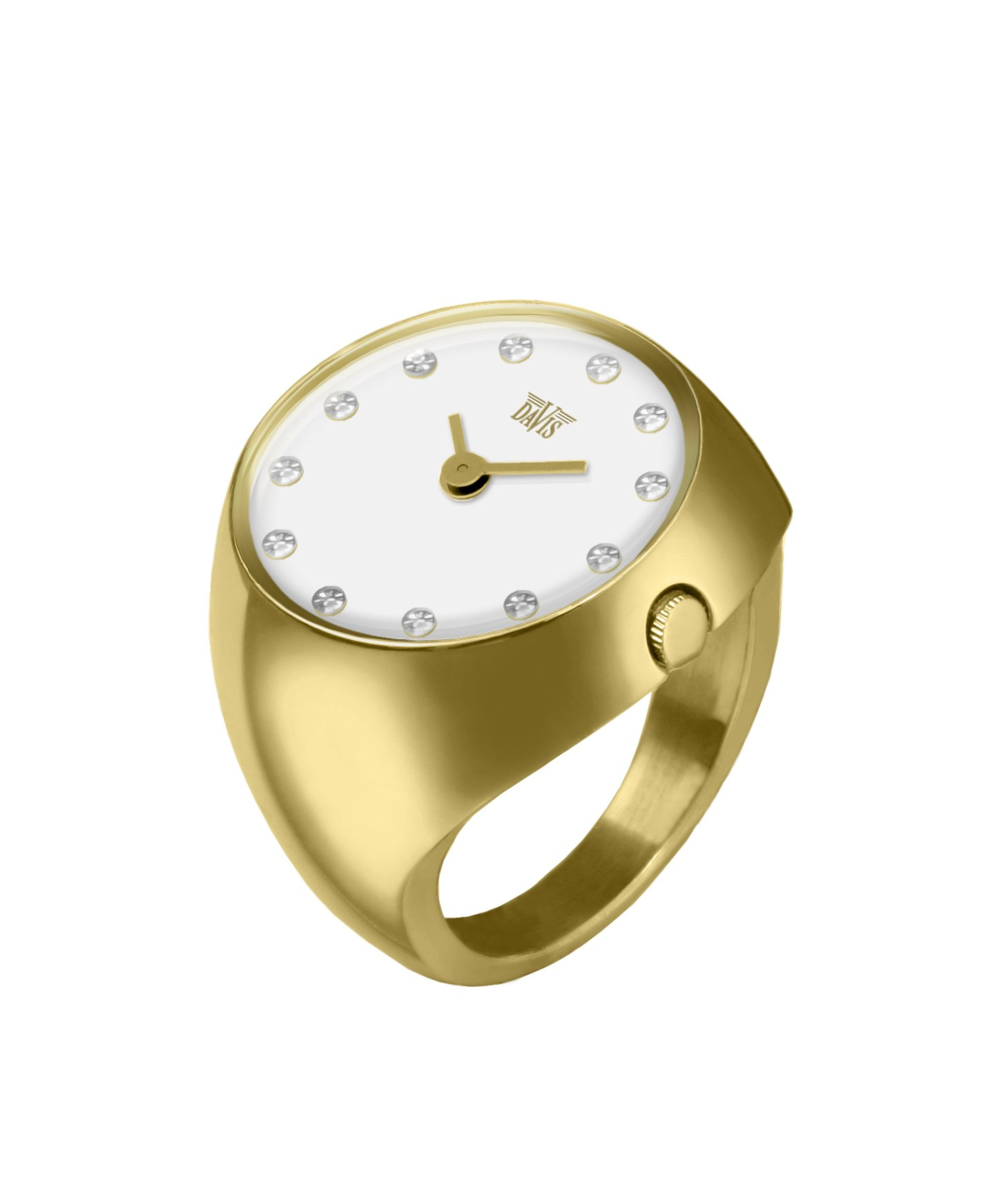 Davis 2016M - Womens Finger Ring Watch Yellow Gold Domed Sapphire Glass White Dial with Swarovski Crystal Markers Size 55