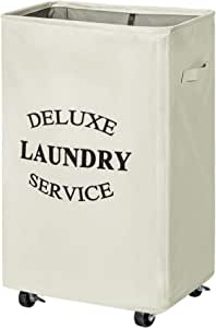 Chrislley 90L Laundry Hamper on Wheels Rolling Large Hampers for Laundry Collapsible Laundry Basket with Wheels (Beige)
