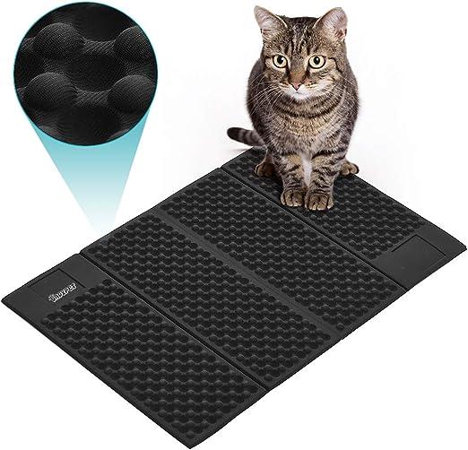DADYPET Alfombrilla Gato, Mascotas Gatos Accesorios Cat Litter Mat Juguetes para Gatos Alfombra Gatos Arenero Esterilla Gato Impermeable Fácil de Limpiar (Negro): Amazon.es: Productos para mascotas
