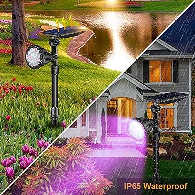 ROSHWEY Outdoor Solar Spot Lights, Super Bright 18 LED Security Lamps Waterproof Spotlight for Garden Landscape Path Walkway Deck Garage (7 Colors, 2 Pack) : Garden & Outdoor