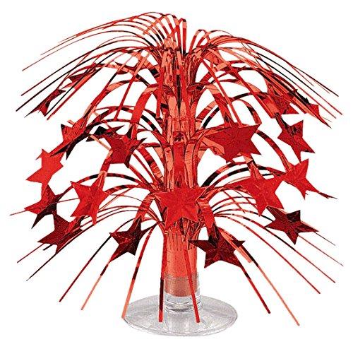 Party Friendly Sparkling Star Mini Cascade Centerpiece Decoration, Red, Foil , 8