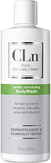 CLn BodyWash – Physician-Developed Therapeutic Body Wash, For Skin Prone to Eczema (atopic dermatitis), Rash, Folliculitis (ingrown hairs, razor bumps), Acne, and Infection (8 Ounces)