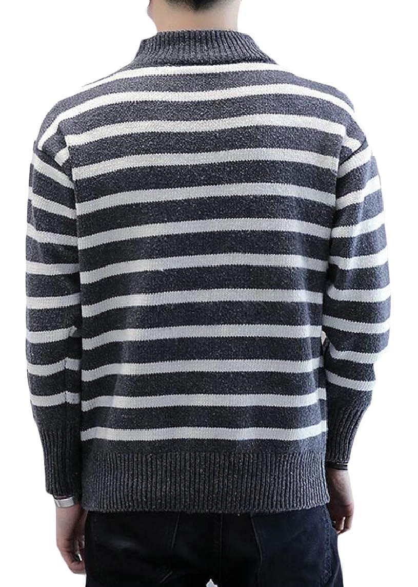 Yayu Mens Stripe Slim Fit Winter Knitted Stylish Knitwear Pullover Sweaters