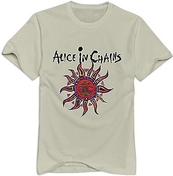 Camiseta de Manga Corta con Cuello en O de algodón para Hombre, diseño de Alicia en Cadenas Beige Natural L: Amazon.es: Ropa y accesorios