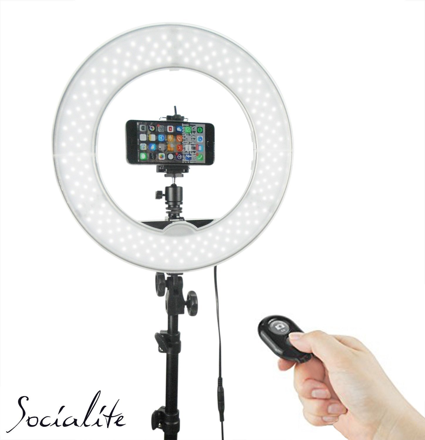 SOCIALITE 12'' LED Dimmable Photo Video Ring Light Kit - Incl Professional Social Media Photography Studio Light, 6ft Stand, Remote, Heavy Duty Mount for DSLR Camera Fits Iphone 6s Android Smartphones