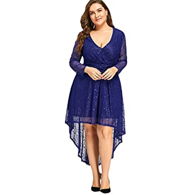 DEZZAL Women\'s Plus Size Long Sleeve Deep V Neck Floral Lace High ...
