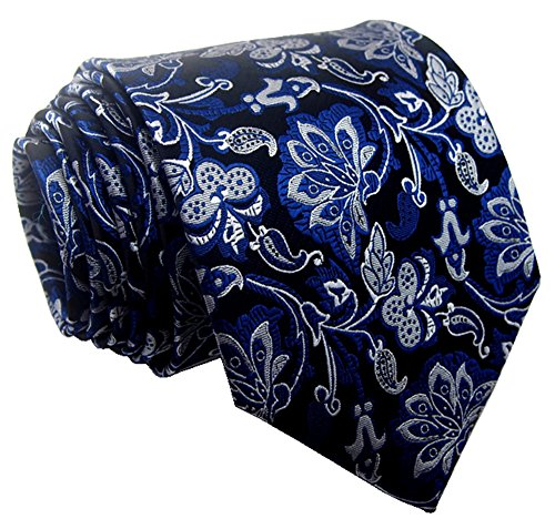 Blue Tie Silk Tonal (Secdtie Men's Classic Blue Silver Black Jacquard Woven Silk Tie Formal Necktie)