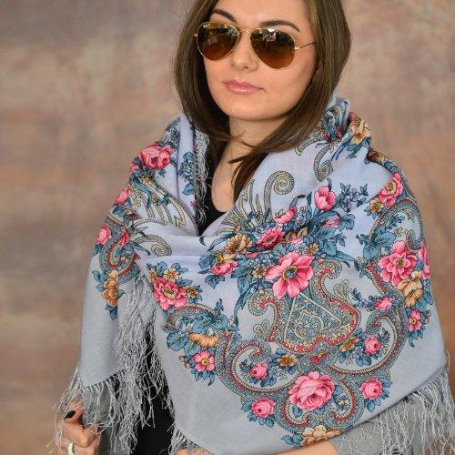 Rococo 100% Wool Russian Shawl with Silk Fringe 49.2x49.2'' (125x125 cm) Light Blue