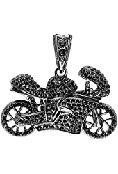 Black Plated Black Crystals Hip Hip Micro Pave Mens Motor Cycle Pendant (2.50 inch x 2.00 inch)