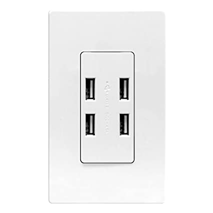 amazon com enerlites 4 port usb outlet usb power outlet 4 0a rh amazon com