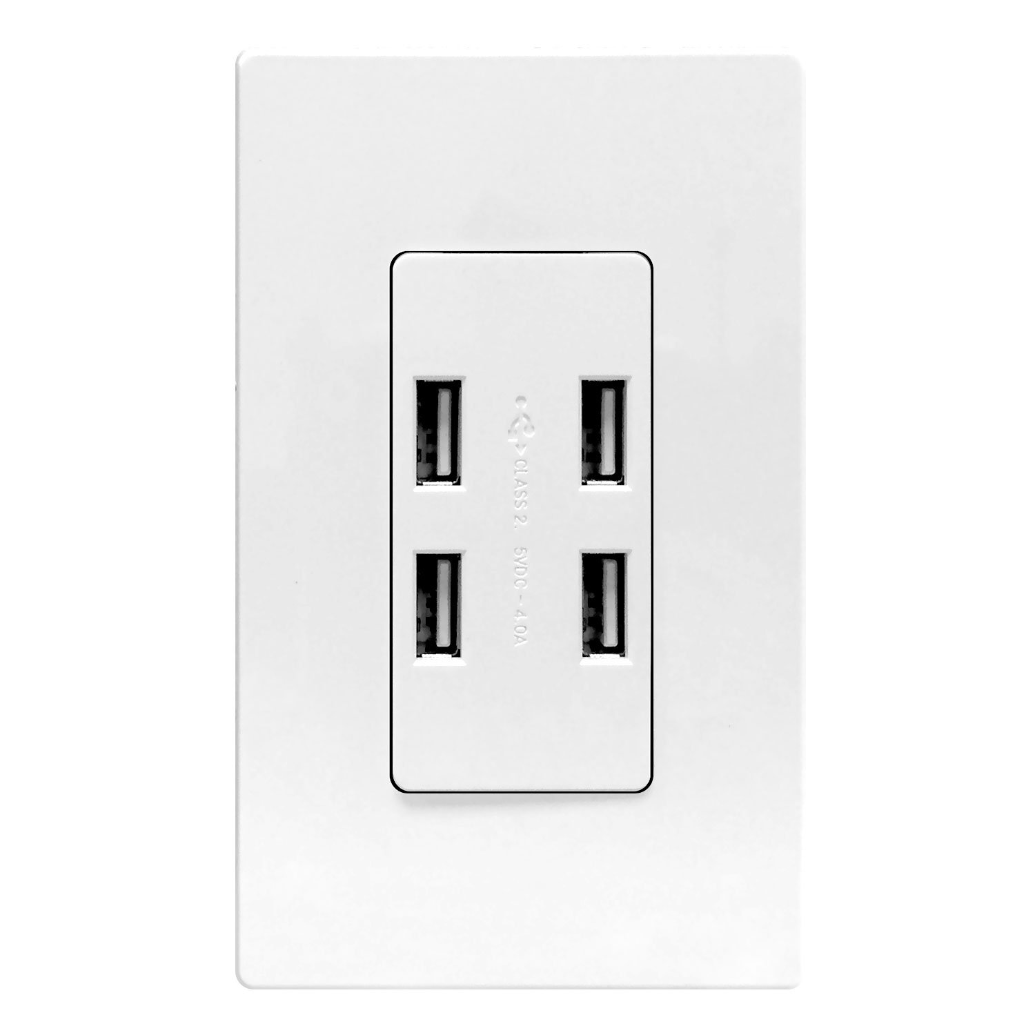 USB Port Hub by Enerlites, 4-Port USB Outlet, USB Power Outlet, 62000-4USB 4.0A High Speed 4-Port USB Charger Outlet In-Wall, 2 Wall Plates Included, White