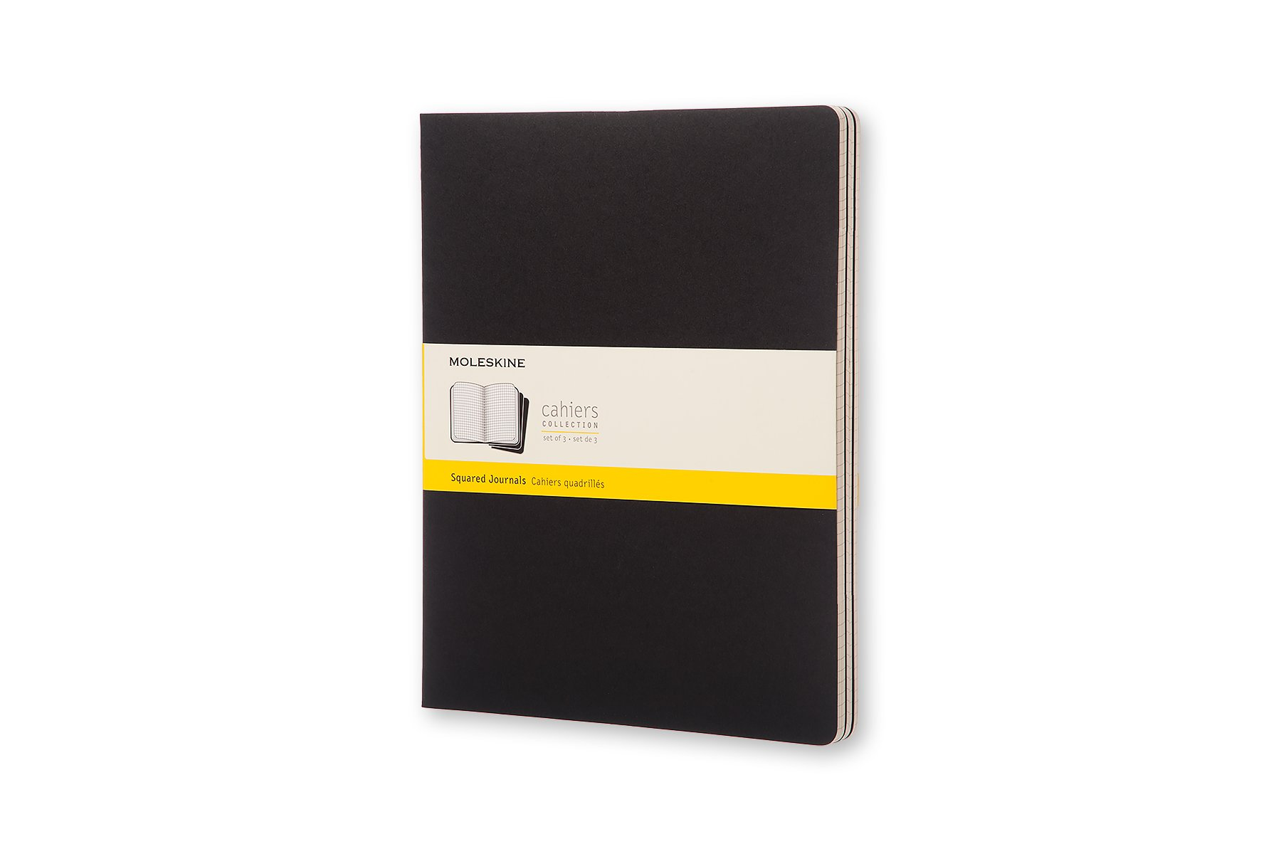 Moleskine Cahier Soft Cover Journal, Set of 3, Squared, XXL.