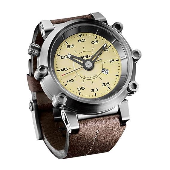 SISU carburador Q4 cuarzo hombres del reloj, Vintage color beige Dial, correa de cuero