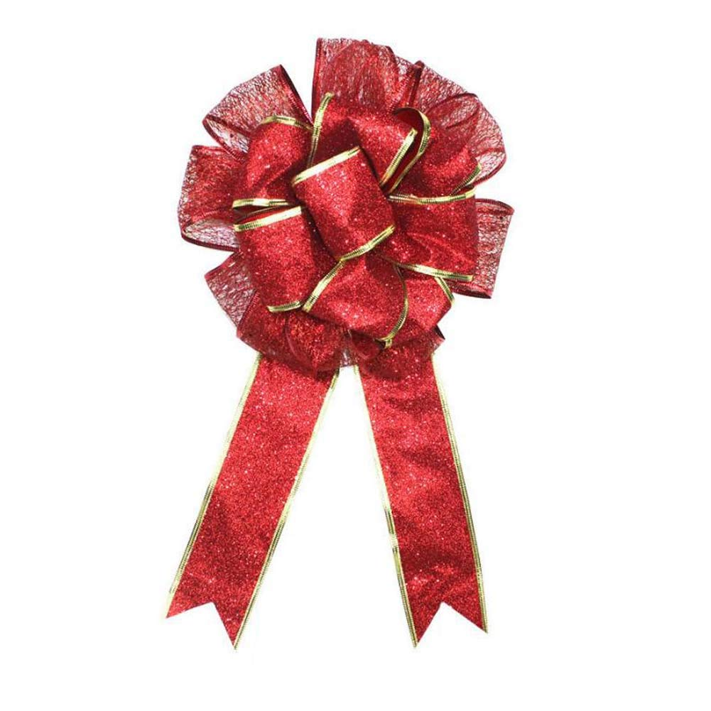 ANQI Double Christmas Bow, Red and Gold Christmas Bow, Bouquet Decorations, Home Shop Decorations 2PCS