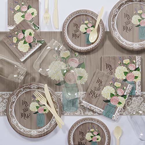 Large Rustic Wedding Mr & Mrs Deluxe Party Supplies Kit by Creative Converting