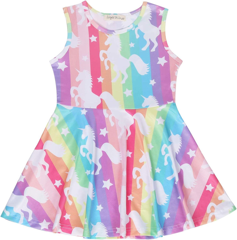 Kids Dresses Mermaid Dresses Girls Dresses Crew Neck Sleeveless A Line Dress Purple Pink for Girls 3-8 Years
