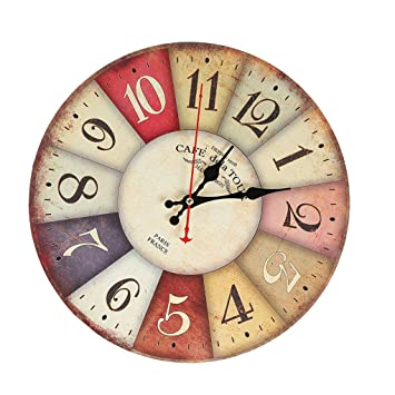 Zerama 30cm Ronda Retro Habitación Sala Digital Dial Mute Reloj de Pared de Madera imitativa Reloj Colgante: Amazon.es: Hogar