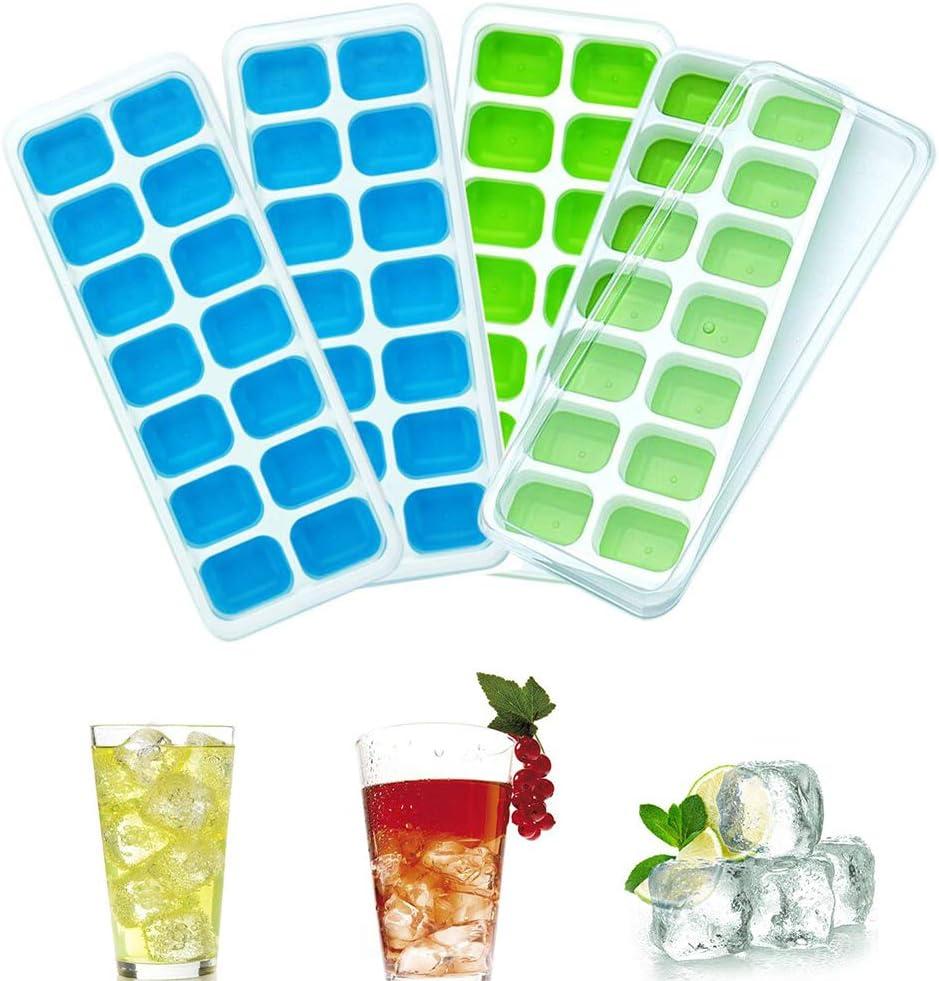 Towinle 4 Bandejas Hielo Grande con Tapa - Silicona Alimentaria Flexible/Cubo Enorme 4 * 3cm - 56 Huecos Color Verde (2 Verde+2 Azul)