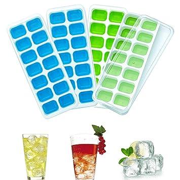 Eiswürfelformen?Queta 4 Stücke Eiswürfelform Mit Deckel Eiswürfelschale 14 Fach Eiswürfel Box Eiswürfelschale LFGB Zertifizie