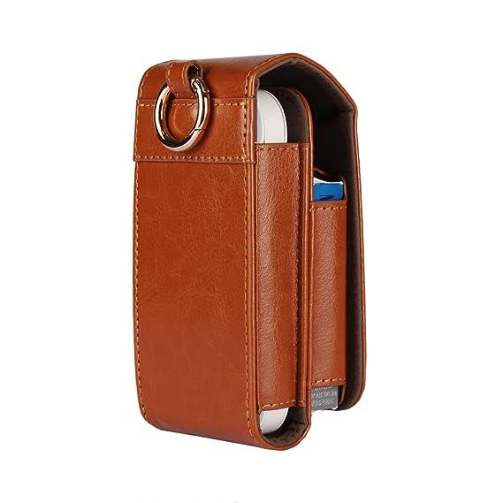 Bolsa de almacenamiento de cigarrillos electrónicos IQOS3, caja de estuche de cuero de PU, portatarjetas de negocios, estuche de billetera, cigarrillo electrónico, cubierta de cigarros,LightBrown: Amazon.es: Hogar