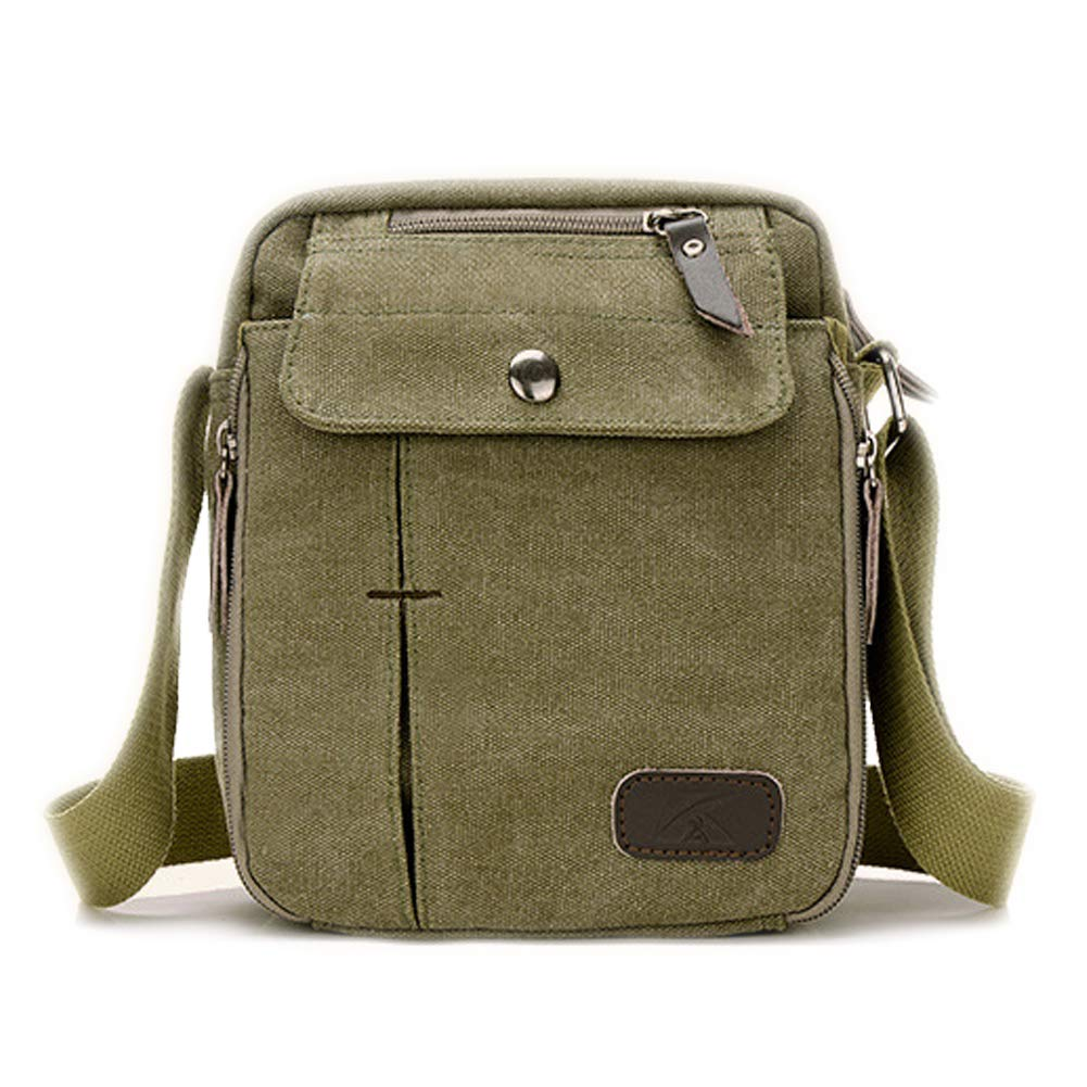 Men Small Vintage Canvas Messenger Bag Cross body bag Pack Organizer Satchel Bag Durable Multi-pocket Sling Shoulder Travel Backpack Army Green