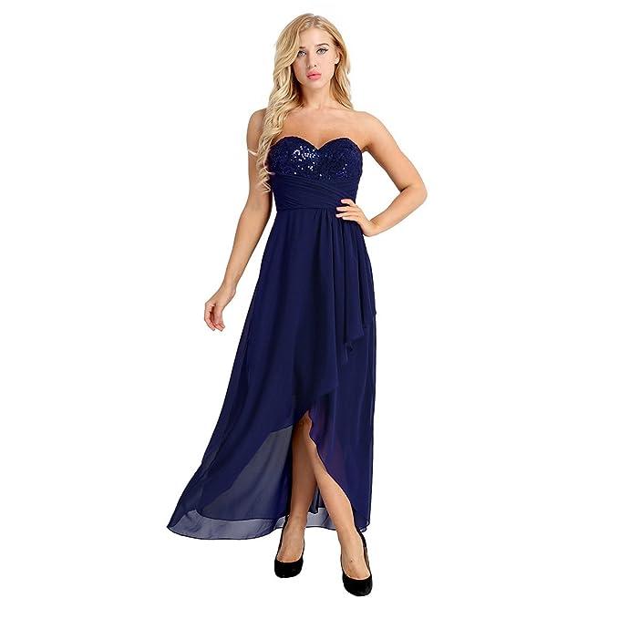Freebily Vestido Elegante de Boda Fiesta Cóctel para Mujer Vestido Bandeau Dama de Honor Vestido de