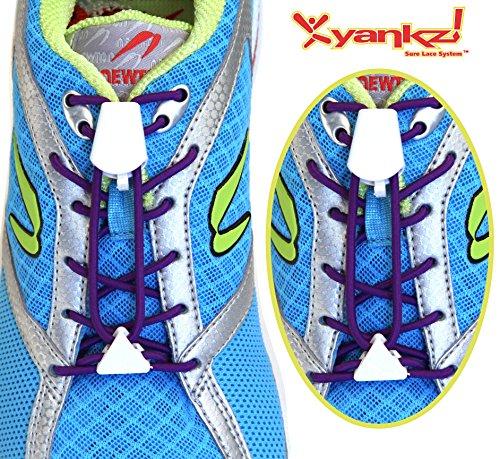 Ibungee Laces - Yankz Sure Lace Round Elastic Shoe Laces, Plum with White, One Size