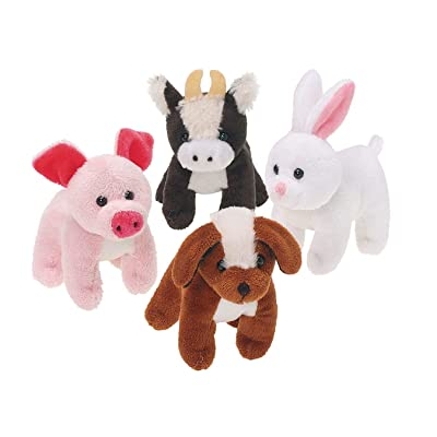 U.S. Toy Plush Furry Farm Animals, Assorted, 12 Each Set: Industrial & Scientific