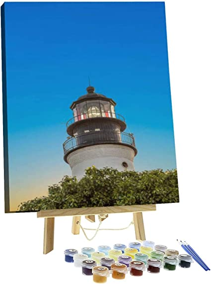 The Lighthouse Acrylic Painting on 20 x 16 Stretched Canvas