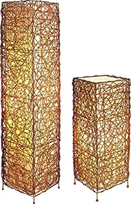 """SH Lighting 31138TF 47"""" H Floor and 23"""" H Table Natural Ratton Lamp Set"""
