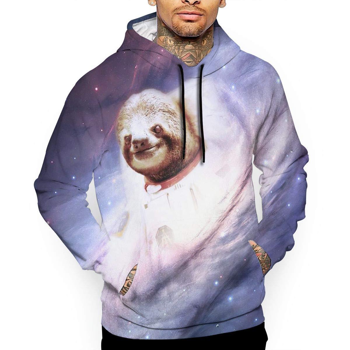 YUANSHAN Space Sloth Mans Long Sleeve Hoodie Casual Pocket Hooded Sweatshirt