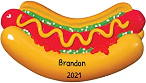 Personalized Hot Dog Christmas Tree Ornament 2020 - Delicious American Sausage Patty Bun Lover Favorite Chef Eat Fast BBQ Baseball Giants Game Street-Food New York Gift Year - Free Customization