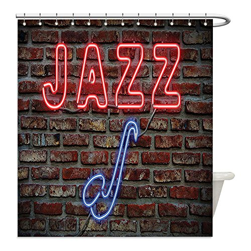 [Liguo88 Custom Waterproof Bathroom Shower Curtain Polyester Jazz Music Decor Image of Bright Neon All Jazz Sign with Saxophone on Brick Print Design Decor Decor Red Blue Decorative bathroom] (All That Jazz Single Chain)