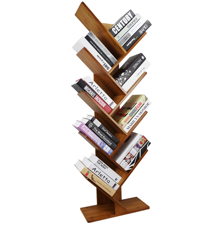 COPREE Bamboo 9-Shelf Tree Bookshelf Book Rack Display Storage Organizer Bookcase Shelving Free Standing Bookshelves for CDs, Movies & Books Holder