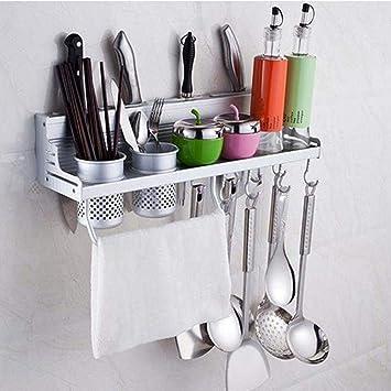 JJYOGA - Estantes de cocina sin perforaciones con 2 soportes para vasos, soporte de aluminio