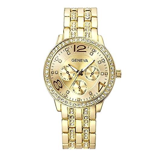 Ginebra marca mujeres oro en acero inoxidable reloj de cuarzo militar  cristal relojes  Amazon.es  Relojes 1a214f621174
