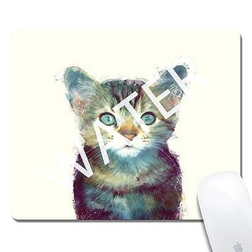 Alfombrilla de Ratón de Juego Gato,Mouse Pad Mat Tela Base de Caucho Compatible con Ratón Láser y óptico Negro 1T3016: Amazon.es: Electrónica