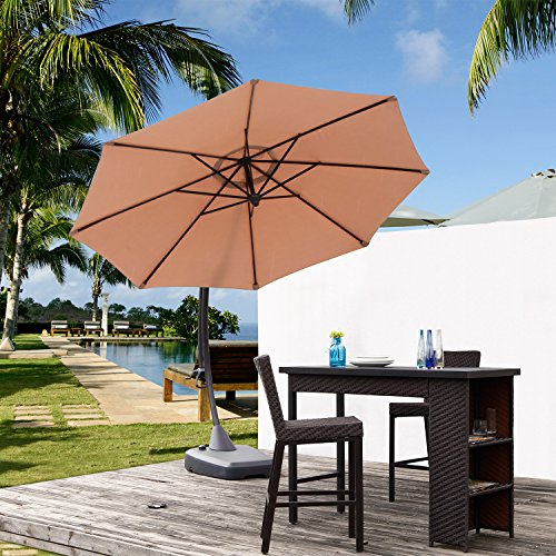 Grand patio Outdoor Aluminum 11.5 Feet Cantilever Umbrella,Offset Hanging Patio Market Umbrella with Large Base for Outdoor,Garden,Beach(Champange) by Grand patio